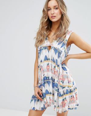 Surf Gypsy Пляжное платье с геометрическим принтом. Цвет: мульти