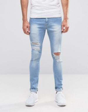 Brooklyn Supply Co. Рваные облегающие джинсы Co. Цвет: синий