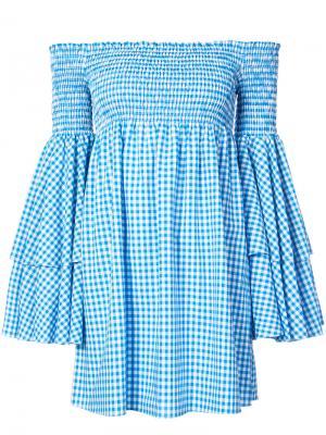 Платье в клетку с открытыми плечами Caroline Constas. Цвет: синий