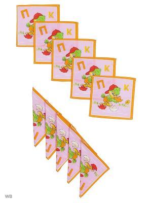 Набор платков носовых детских Римейн. Цвет: фиолетовый, оранжевый
