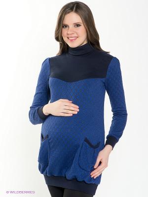 Туника для беременных 40 недель. Цвет: темно-синий