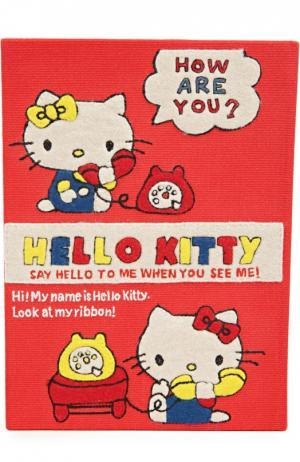 Клатч в виде книги с аппликацией Hello Kitty Olympia Le-Tan. Цвет: красный