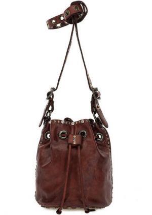 Маленькая сумка-торба через плечо Campomaggi. Цвет: бордовый
