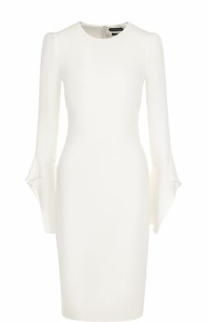 Приталенное шелковое платье-миди с длинным рукавом Tom Ford. Цвет: белый