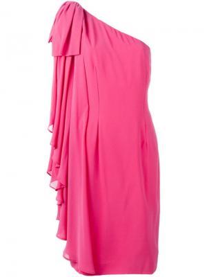 Платье на одно плечо Jean Louis Scherrer Vintage. Цвет: розовый и фиолетовый