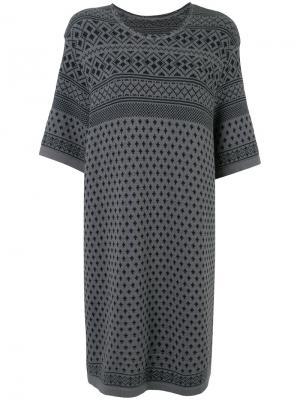 Трикотажное жаккардовое платье Zambesi. Цвет: серый