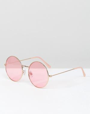 South Beach Круглые солнцезащитные очки в оправе цвета розового золота и розовыми. Цвет: розовый