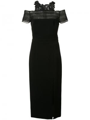 Платье с открытыми плечами Monique Lhuillier. Цвет: чёрный