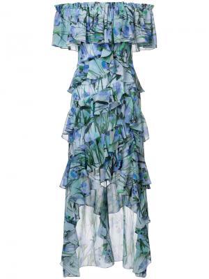 Платье с оборками Badgley Mischka. Цвет: синий