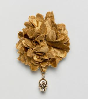 Noose & Monkey Булавка на лацкан в виде большого бархатного цветка. Цвет: золотой