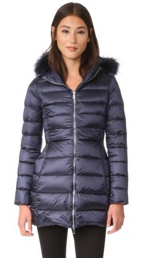 Пуховое пальто с меховой отделкой Add Down. Цвет: темно-синий
