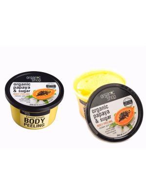 Пилинг для тела Сочная Папайа, 2 шт. Organic Shop. Цвет: желтый