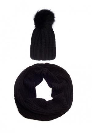 Комплект снуд и шапка Pretty Mania. Цвет: черный