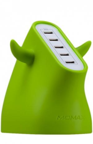 Зарядная станция U.Bull на 5 устройств Momax. Цвет: зеленый