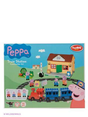 Конструктор Ж/д станция Peppa Pig, 95 деталей BIG. Цвет: розовый, голубой, зеленый