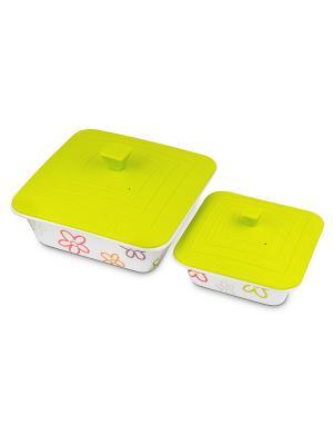 Набор керамических квадратных форм для приготовления с силиконовыми крышками, 2 шт. OURSSON. Цвет: салатовый, белый