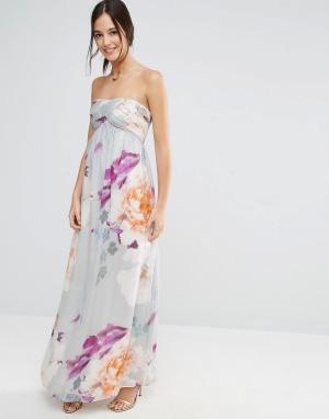 Liquorish Платье-бандо макси с цветочным принтом. Цвет: фиолетовый