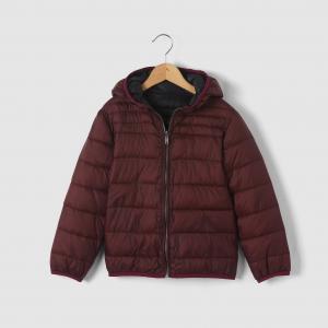 Куртка стеганая тонкая двухсторонняя с капюшоном, 3-12 лет R essentiel. Цвет: камуфляж,темно-синий,черный/бордовый