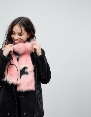 Skinnydip Розовый шарф оверсайз из искусственного меха. Цвет: розовый