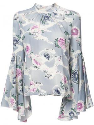 Блузка с цветочными узорами и расклешенными манжетами Co. Цвет: синий
