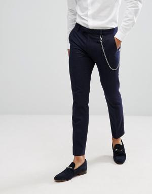 River Island Темно-синие брюки в тонкую полоску с цепочкой. Цвет: темно-синий