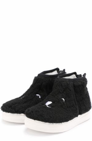 Ботинки из текстиля с вышивкой на молнии Joshua Sanders. Цвет: черный