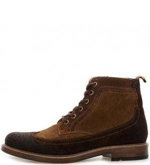 Коричневые замшевые ботинки на шнуровке и молнии NOBRAND. Цвет: коричневый