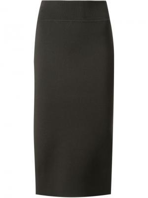 Трикотажная юбка с разрезом сзади Scanlan Theodore. Цвет: зелёный