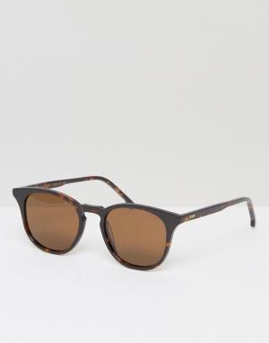 Komono Солнцезащитные очки в квадратной черепаховой оправе Beaumon. Цвет: коричневый