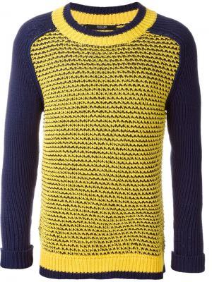 Сетчатый свитер с круглым вырезом Sibling. Цвет: синий