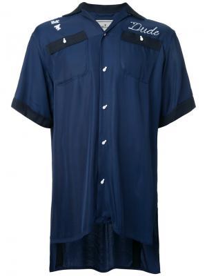 Рубашка с вышивкой Maison Mihara Yasuhiro. Цвет: синий