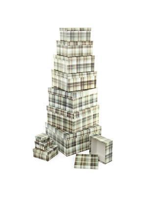 Набор из 11 картонных коробок 5,5*5,5*2,5-25,5*25,5*13см, Уютный плед VELD-CO. Цвет: темно-коричневый, коричневый, терракотовый
