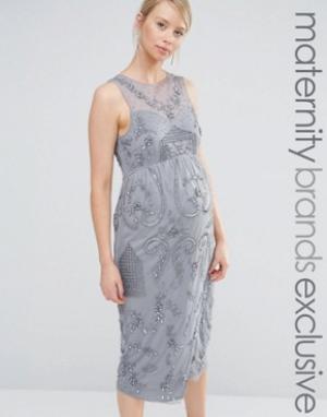 Maya Maternity Декорированное платье миди для беременных с запахом на юбке Mater. Цвет: серый