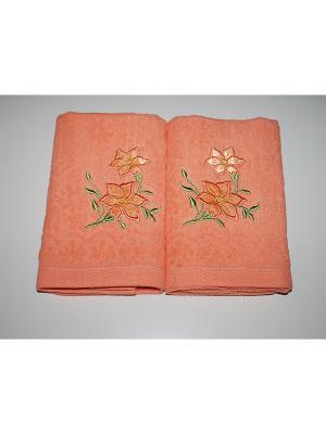 Комплект полотенец 2пр Цветы La Pastel. Цвет: оранжевый