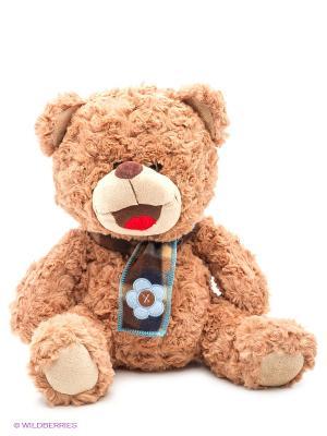 Мишка Тоша с шарфом 30см. Fluffy Family. Цвет: коричневый