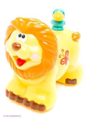 Развивающая игрушка  Каталка Львенок Kiddieland. Цвет: оранжевый, желтый, красный