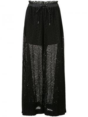 Широкие кружевные брюки Sacai. Цвет: чёрный