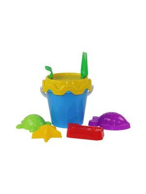 Набор детский для игры с песком Морской №1 Альтернатива. Цвет: голубой, фиолетовый, красный, желтый