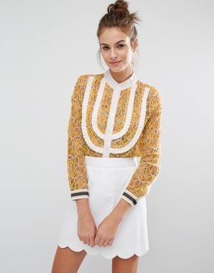 Sister jane Кружевная рубашка с люрексом. Цвет: желтый