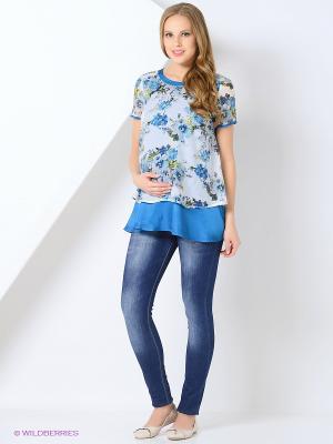 Блузка MammySize. Цвет: голубой