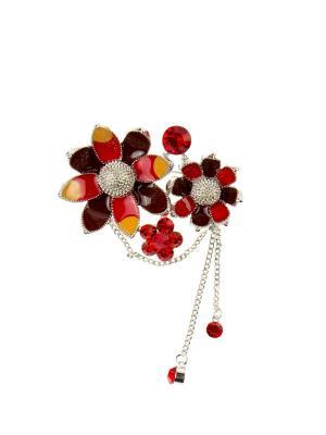 Брошь Bijoux Land. Цвет: серебристый, красный, коричневый