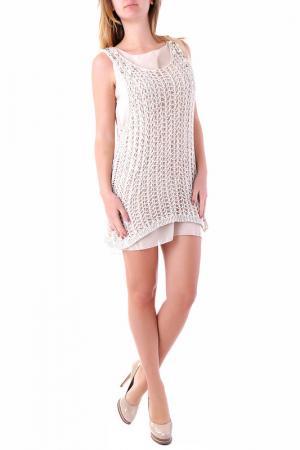 Платье Cristina Gavioli. Цвет: бежевый