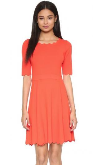 Расклешенное платье Ballet с зубчатыми краями Milly. Цвет: оранжевый