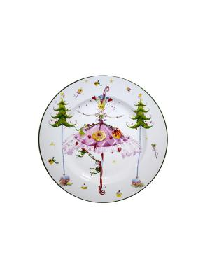 Тарелка Танцующая девушка Д 23 см п/уп Elff Ceramics. Цвет: белый, зеленый, красный