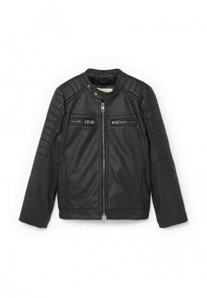 Куртка кожаная Mango Kids. Цвет: черный