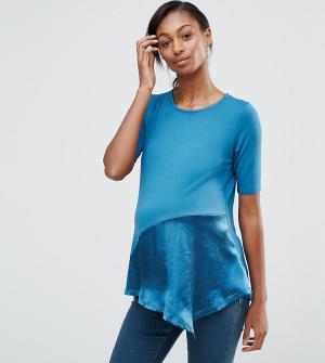 ASOS Maternity Асимметричная футболка с атласным низом для беременных. Цвет: мульти