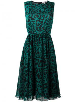 Платье с леопардовым принтом Borbonese. Цвет: зелёный