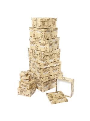 Набор из 11 картонных коробок 5,5*5,5*2,5-25,5*25,5*13см, Гимн весне VELD-CO. Цвет: терракотовый, светло-коричневый