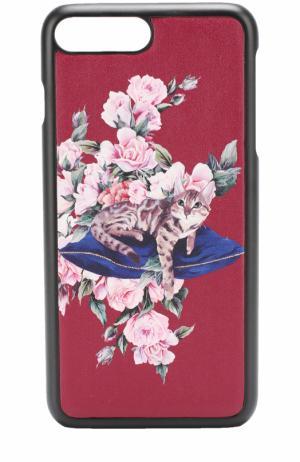 Кожаный чехол для iPhone 7 с принтом Dolce & Gabbana. Цвет: красный