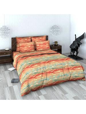 Комплект постельного белья из сатина 2 спальный Василиса. Цвет: коралловый